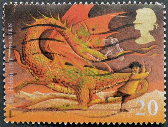 UNITED KINGDOM CIRCA 1998 A stamp printed in Great Britain shows image of The Hobbit by JRR Tolkien circa 1998.