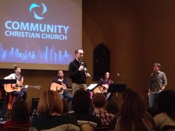 Jon Ferguson leading a baptism service in Chicago